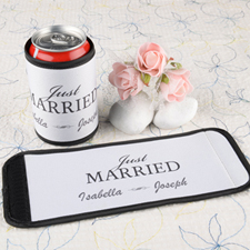 Just Married Personalised Can And Bottle Wrap White