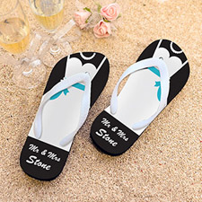 Mrs. Personalised Wedding Flip Flops, Kid's Medium