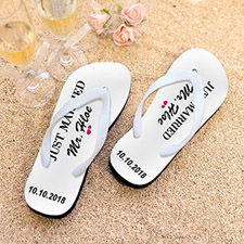 Just Married Personalised Flip Flops, Kid's Medium