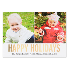 Gold Foil Personalised Two Collage Photo Happy Holidays Flat Card, 5