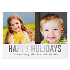 Silver Foil Personalised Two Collage Photo Happy Holidays Flat Card, 5
