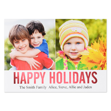 Red Foil Personalised Two Collage Photo Happy Holidays Flat Card, 5