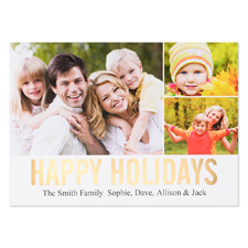 Collage Happy Holidays Gold Foil Personalised Photo Card