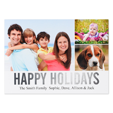 Collage Happy Holidays Silver Foil Personalised Photo Card