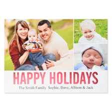 Collage Happy Holidays Red Foil Personalised Photo Card