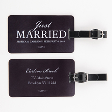 Just Married Personalised Luggage Tag, black