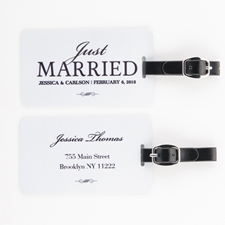 Just Married Personalised Luggage Tag, white