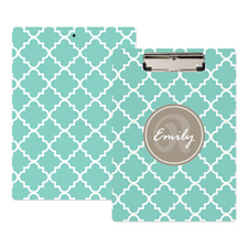 Mint Quatrefoil Personalised Clipboard