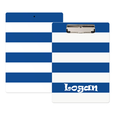 Navy White Stripe Personalised Clipboard