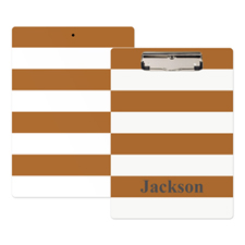 Brown White Stripe Personalised Clipboard