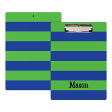 Green Navy Stripe Personalised Clipboard
