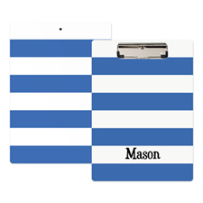 Blue White Stripe Personalised Clipboard