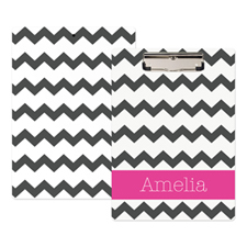 Grey Chevron Personalised Clipboard