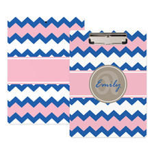 Blue Pink Chevron Personalised Clipboard