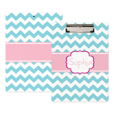 Aqua Chevron Personalised Clipboard