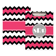 Black Pink Chevron Personalised Clipboard
