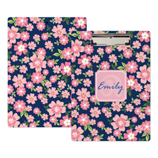 Pink Flower Personalised Clipboard