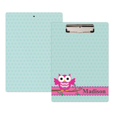 Pink Owl Personalised Clipboard