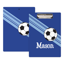 Royal Blue Soccer Coach Personalised Clipboard