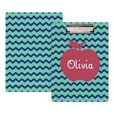 Navy Chevron Apple Personalised Clipboard