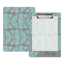 Grey Aqua Damask Personalised Clipboard