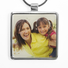 Personalised Photo Square Metal Keychain (Large)