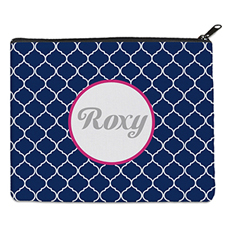 Navy Quatrefoil Personalised 8