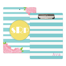 Aqua Striped Rose Personalised Clipboard