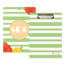 Green Striped Rose Personalised Clipboard