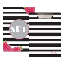 Black Striped Rose Personalised Clipboard