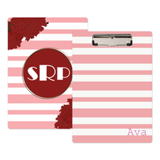 Pink Striped Floral Personalised Clipboard