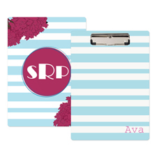 Blue Striped Flower Personalised Clipboard