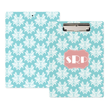 Aqua Damask Personalised Clipboard