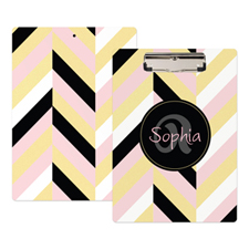 Gold Pink Black Stripe Personalised Clipboard