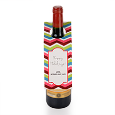 Chevron Holiday Personalised Wine Tag