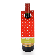 Red Polka Dots Personalised Wine Tag, set of 6