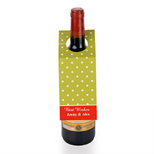 Lime Polka Dots Personalised Wine Tag, set of 6
