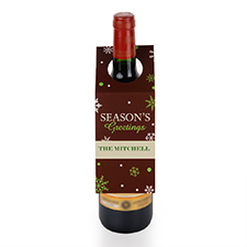 Season's Greetings Personalised Wine Tag, set of 6