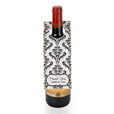 Black Damask Personalised Wine Tag, set of 6