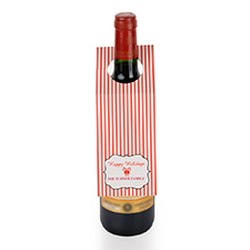Holiday Stripe Personalised Wine Tag, set of 6