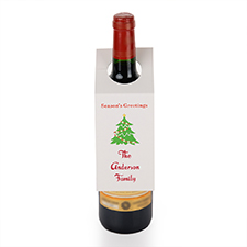 Season's Greeting Christmas Tree Personalised Wine Tag, set of 6