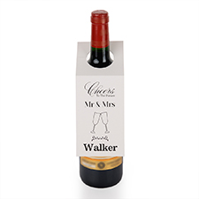 Mr. and Mrs. Personalised Wine Tag, set of 6