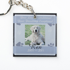 Grey Pet Memorial Personalised Acrylic Square Keychain