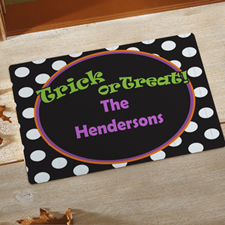 Polka Dots Halloween Personalised Doormat