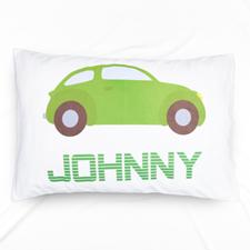 Green Car Personalised Name Pillowcase