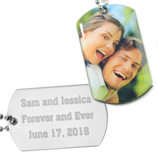 Personalised Photo Dog Tag Pendant Back Engrave Message