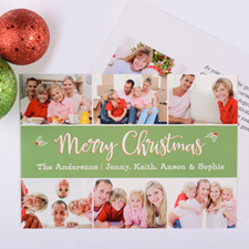 Holly Christmas Personalised Photo Card