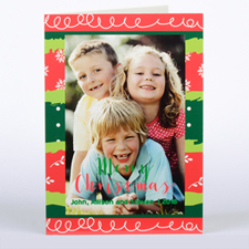 Colourful Christmas Personalised Photo Card, Folded 5