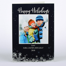 Frozen In Time Personalised Photo Christmas Card, Folded 5