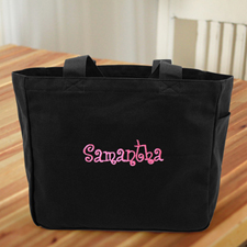 Personalised Embroidered Cotton Tote Bag, Black